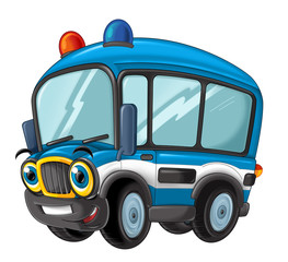 cartoon happy and funny police bus - isolated truck / smiling vehicle