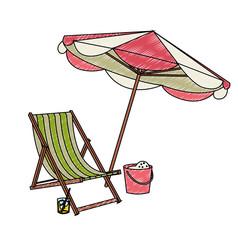 Zeichnung Sonnenschirm und Sonnenliege Vektor