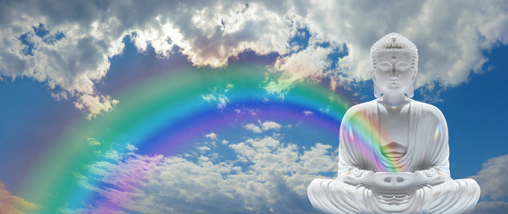 Mindfulness Rainbow Buddha - beautiful fluffy clouds and blue sky with a White Buddha in Lotus position on right hand side sending a rainbow out from cupped hands