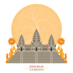 Angkor Wat, Siem Reap, Cambodia with Decoration Background