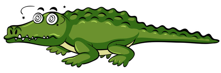 Crocodile with dizzy face