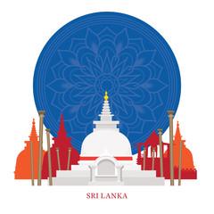 Sri Lanka Landmarks with Decoration Background