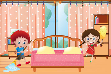 Two kids cleaning the bedroom