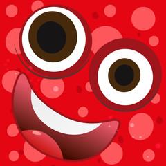 Funny face on red background