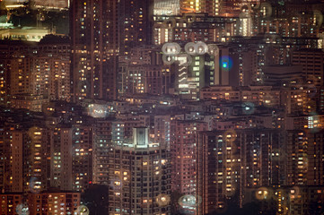 Double exposure of night view in Kowloon centre