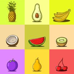 Set of Hand drawn Tropical fruits vector illustration