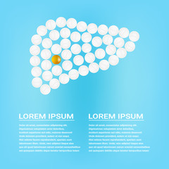 Human Liver With Pills Isolated On A Background Realistic Vector Illustration. Medical concept created by pills.