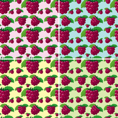 Seamless background design with raspberries