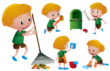 Boy doing different chores