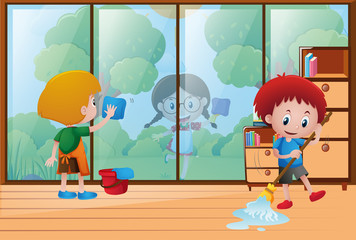 Children cleaning the house