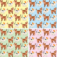 Seamless background design with cute dogs and cats