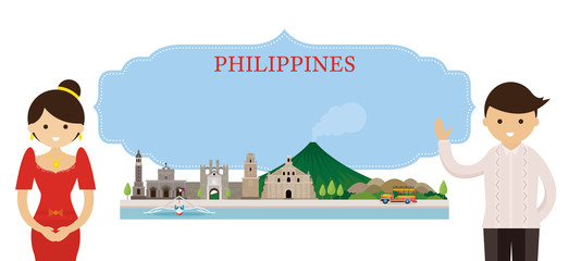 Philippines Landmarks and people in Traditional Clothing