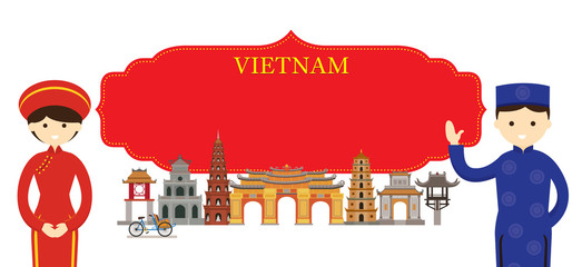 Vietnam Landmarks and people in Traditional Clothing