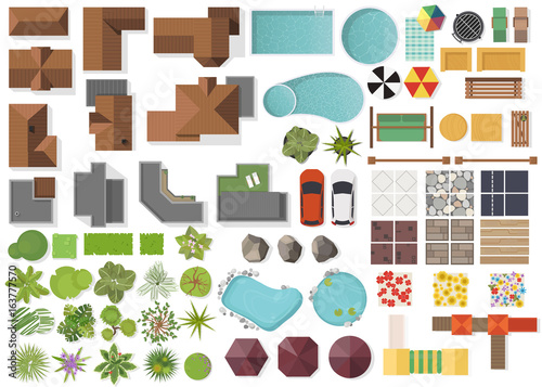 Set Landscape elements, top view House, garden, tree, lake,swimming