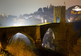 night view of medieval  bridge at Besalu