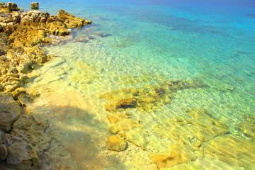 Beautiful beach with clear blue sea near Stari Gard town on Island Hvar, Croatia