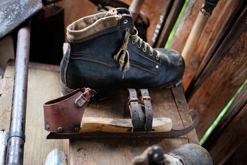 Vintage hiking boots and figure skates