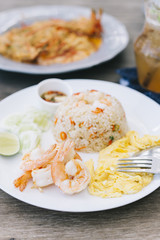 Food series: Fried rice with prawns and omelet, Thai food
