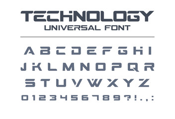 Technology universal font. Geometric, sport, futuristic, future techno alphabet. Letters and numbers for military, industrial, electric car racing logo design. Modern minimalistic vector typeface