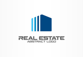 Abstract logo for business company. Corporate identity design element. Real estate service, construction, agent logotype idea. Growth house, building, simple apartment concept. Color Vector icon
