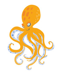 Cute cartoon octopus, vector illustration, isolated on white background.