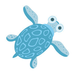 Cute blue sea turtle. Vector illustration, isolated on white background.
