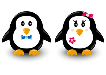 Cartoon penguins, boy and girl, vector illustration