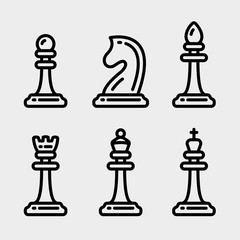 Chess Pieces Minimalistic Flat Line Outline Stroke Icon Pictogram Symbol Set Collection
