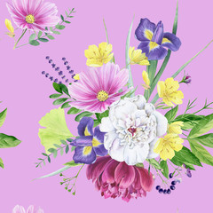 Beautiful watercolor floral peony seamless pattern