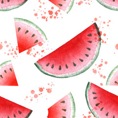 Seamless pattern with juicy serving watermelon watercolor painting.