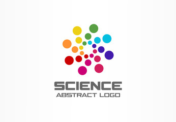 Abstract logo for business company. Corporate identity design element. Digital technology, Globe, science, circle logotype idea. Growth, development, healthcare concept. Colorful Vector icon