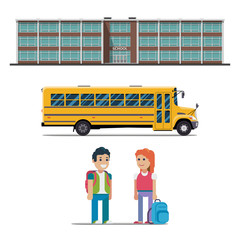 school bus and schoolchild vector flat illustration on white background