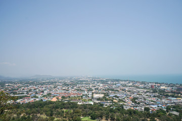 top view of city and sea in the south of Thailand