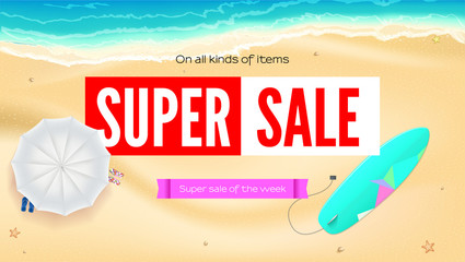 Summer sand of beach on the seashore. Selling ad banner. Summer super vacation discounts. Umbrella, beach Mat and slippers, surfboard near the waves of sea. Summer sale horizontal background.