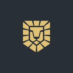 Lion logo design template set, Lion head logo - vector illustration, emblem design on black background. Vector illustration