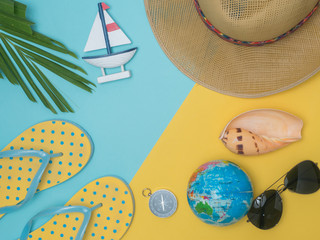 Travel around the world for your colorful life .Enjoy the funny trip journey .Top view for copy space some idea your create destination .object  cute  ,object  vintage on color background