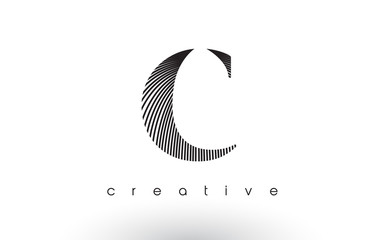 C Logo Design With Multiple Lines and Black and White Colors.