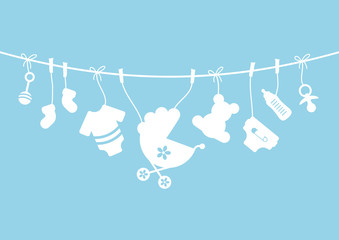 Baby Symbols Boy Hanging Blue/White