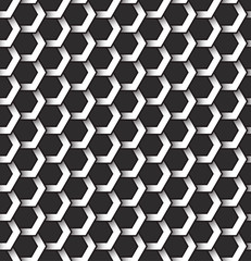Monochrome seamless pattern of hexagonal shapes. Abstract repeatable background.