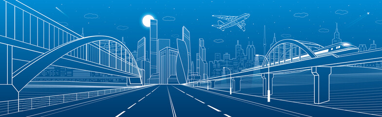 Pedestrian and railway bridges over highway. Urban infrastructure panorama, modern city on background, industrial architecture. Airplane fly.  White lines illustration, night scene, vector design art