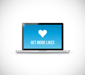 get more likes laptop computer illustration