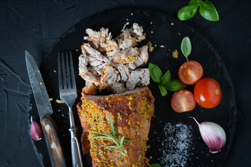 Pulled pork with spices and herbs