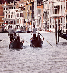 Venice, two gondolas on  Grand Canal