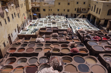 Chouwara Leather traditional tannery in ancient medina of Fes El Bali, Morocco, Africa.