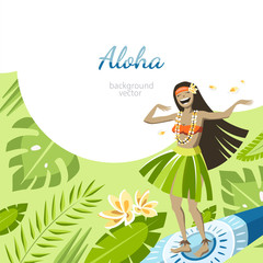 aloha hawaii background with girl on surf flying over the leaves dancing hula dance