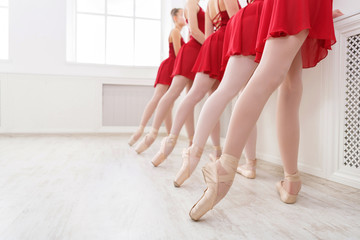 Ballet background, young ballerinas training