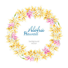 plumeria wreath hawaii aloha background necklace
