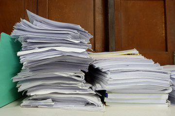 Stack of Documents at window in old office