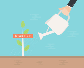 Start up green business growth concept. Human hand with can watering a tree. flat design.