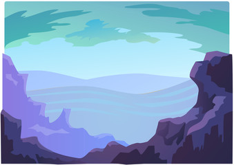 Landscape violet mountains for animation
